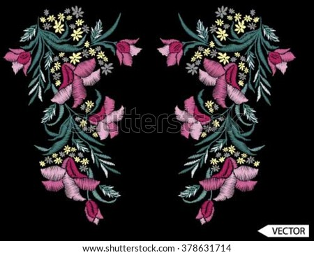flower neck line embroidery designs - stock vector