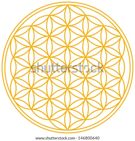 Flower of Life - A geomtrical figure, composed of multiple evenly-spaced, overlapping circles. A symbol since ancient times, forming a flower-like pattern with the symmetrical structure of a hexagon. - stock vector