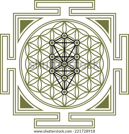 Flower of Life, Tree of Life, Yantra - stock vector