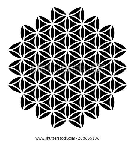 flower life vector sacred geometry logo stock vector 288655196 shutterstock. Black Bedroom Furniture Sets. Home Design Ideas