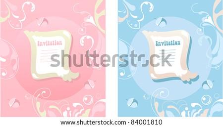 flower ornamental cartoon invitation, pink, blue vector - stock vector