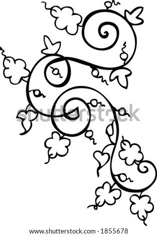 flower pattern decoration, hand drawn, all objects are separated and ready to re-use