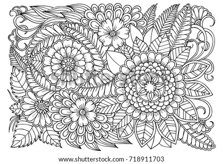 Flower Pattern Black White Adult Coloring Stock Vector (2018 ...