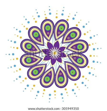 Flower pattern mandala (vector) - stock vector