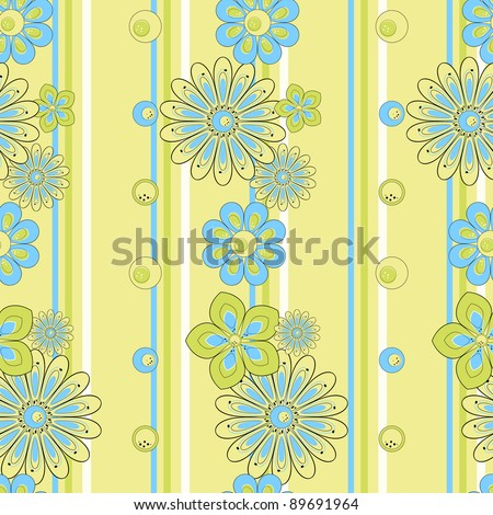Flower pattern seamless on striped background - stock vector