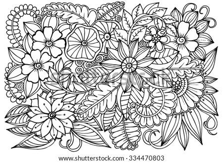 Flower pattern vector doodle flowers black stock vektr 334470803 flower pattern vector doodle flowers in black and white mightylinksfo