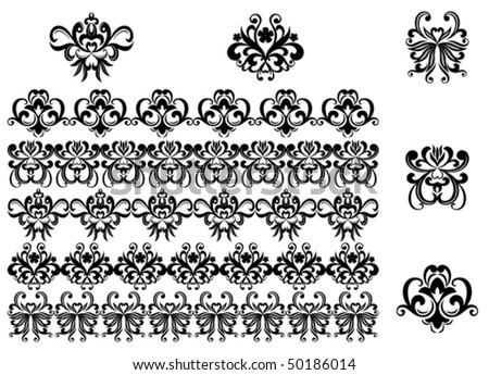 Flower patterns and borders for design and ornate. Jpeg version also available - stock vector