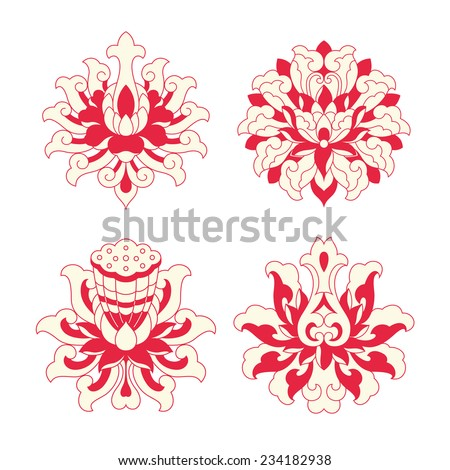 Flower patterns of Chinese style - stock vector