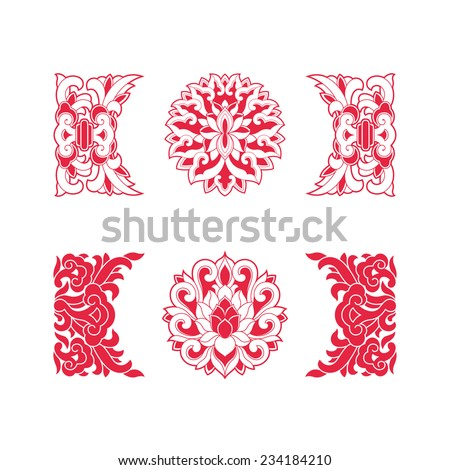 Flower patterns of Chinese style(Lotus flower) - stock vector