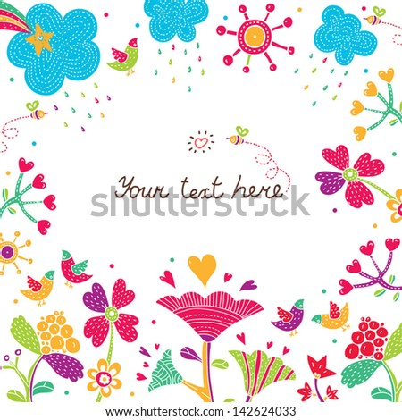 Flower postcard. Vector.