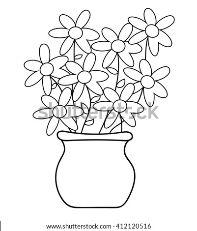 Flower Pot Coloring Page Stock Vector 412120516 - Shutterstock