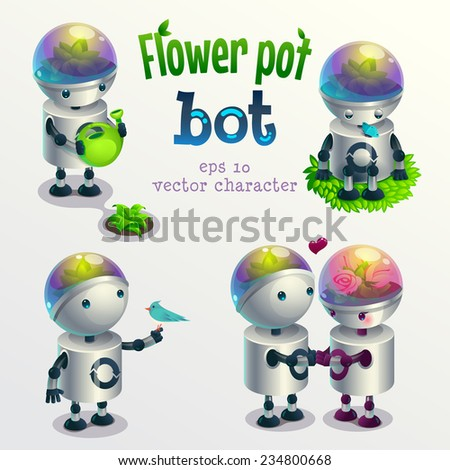 Flower pot robot. Set of vector characters in different poses. Isolated on white background. - stock vector