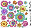 Flower Power Flowers and Ladybug Groovy Psychedelic Hand Drawn Notebook Doodle Design Elements Set on Lined Sketchbook Paper Background- Vector Illustration - stock vector