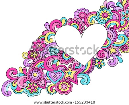 Flower Power Peace & Love Groovy Psychedelic Notebook Doodles Heart Frame Vector Illustration - stock vector