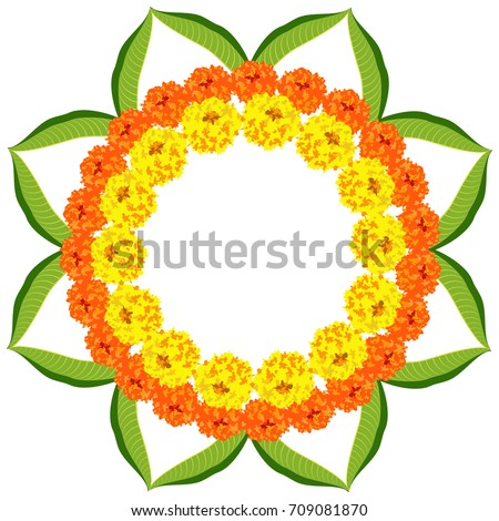 Flower Rangoli Vector For Diwali Or Pongal Festival Over White Background With Copy Space In