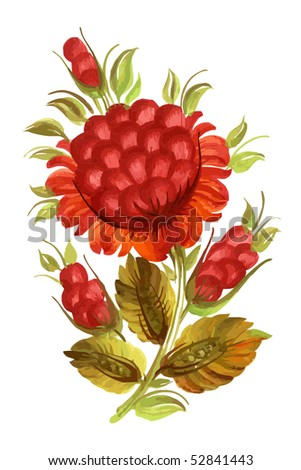 flower red decorative on the white background eps10 - stock vector
