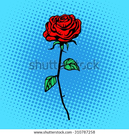 Flower red rose stem with thorns a symbol of love and romance - stock vector