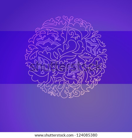 Flower round violet ornamental background. Vector illustration for your fashion design. With place for your text. Sign of sun,life and renewal. Easy to edit and color change. - stock vector