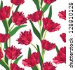 Flower seamless background. Red tulips seamless floral pattern. - stock vector