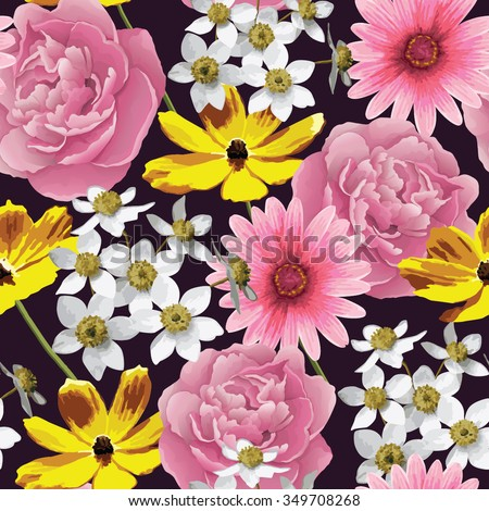 Flower seamless pattern background. Abstract Elegance vector illustration texture. EPS 10 - stock vector