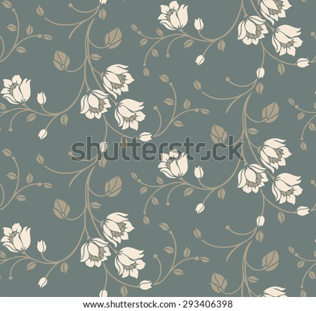 Flower seamless pattern background. Elegance Floral vector illustration. - stock vector