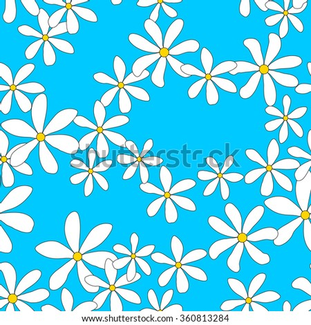 Flower seamless pattern , hand-drawn.Daisies on a blue background - stock vector