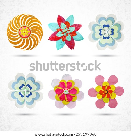 Flower set for design, set of 6 items, made of paper, plasticine, dough, clay or cardboard and glue, cut out with scissors. Grunge, highly textured. Design elements, craft and hobby activity. - stock vector