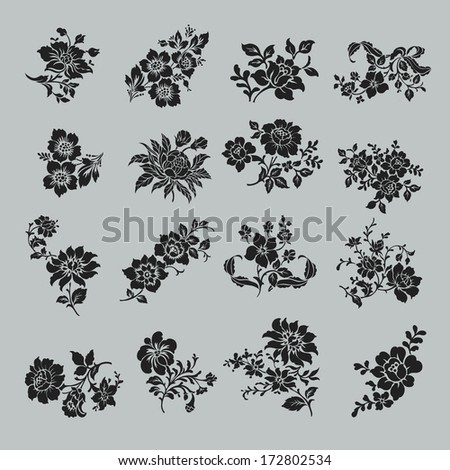 Flower set. Vintage rose collection with , floral elements, buds and leafs