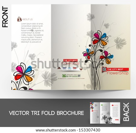 Flower shop Tri-Fold Mock up & Brochure Design  - stock vector