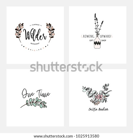 Flower Simple Logo Templates Colored Logotypes Leaves And Flowers Branding Design