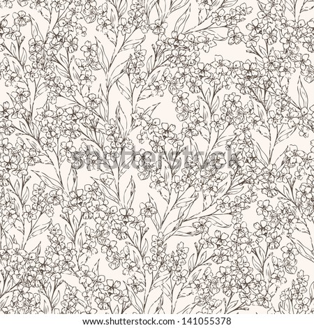 Flower simple seamless pattern . Summer floral background with forget-me-not flowers