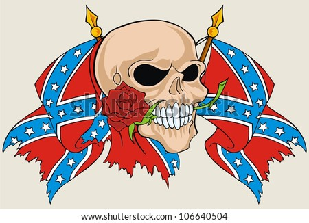 flower skull and rebel flag - stock vector