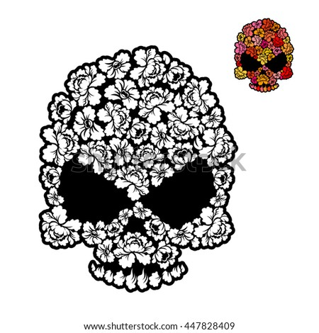 Flower Skull Coloring Book Mexican Head Stock Vector 447828409 ...