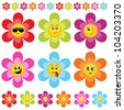 flower smileys - stock vector