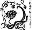 Flower stencil. decorative element in art nouveau style - stock vector