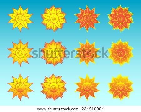 Flower sun ethnic icons set. Twelve variants of stylized floral sun ethnic symbols, vector EPS 8. - stock vector