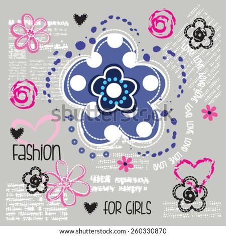 flower, T-shirt design vector illustration - stock vector