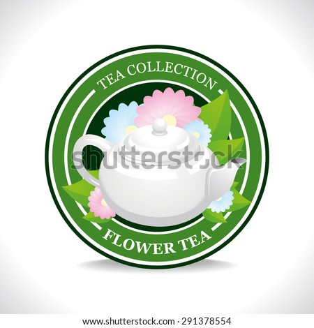 Flower tea label with white teapot