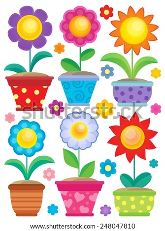 Flower theme collection 2 - eps10 vector illustration. - stock vector