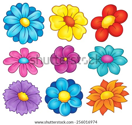 Flower theme collection 6 - eps10 vector illustration. - stock vector