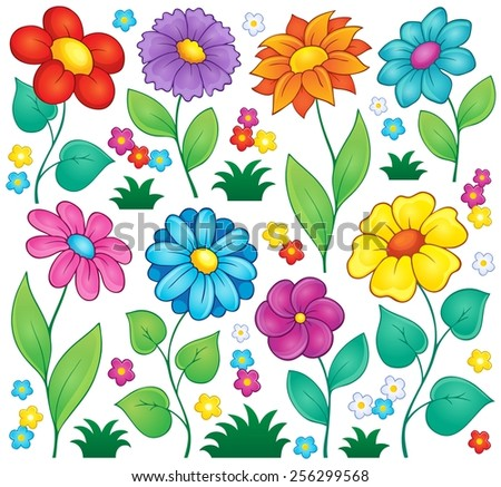 Flower theme collection 7 - eps10 vector illustration. - stock vector