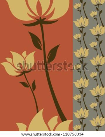 Flower tileable pattern in vectors - stock vector