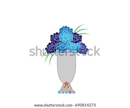 Flower Vase Illustration Flower Thank You Cotton Stock Vector