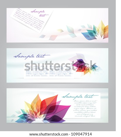 Flower vector background  template. Set of floral cards  Banners - stock vector