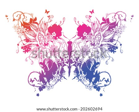 Flower vector butterfly - stock vector