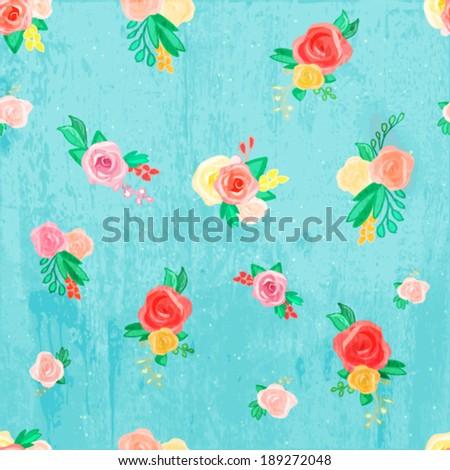 flower vintage wallpaper vector background. vintage floral seamless pattern background for your design. textile design vector. - stock vector