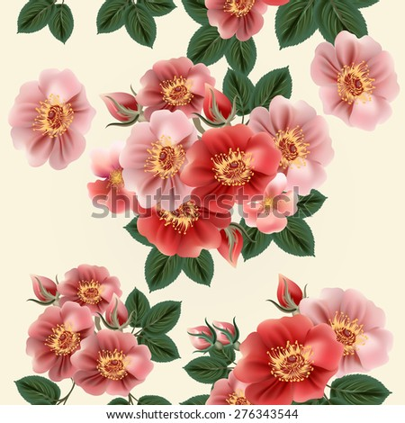 Flower wallpaper pattern with roses - stock vector