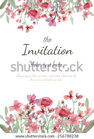 Flower wedding invitation card, save the date card, greeting card - stock vector