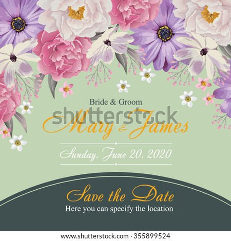 Flower wedding invitation card, save the date card, greeting card. Wedding card or invitation with floral background. EPS 10