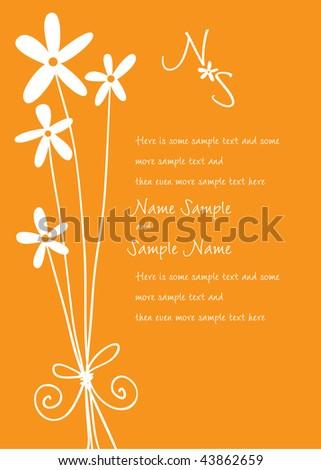 Flower Wedding Invitation Panel - stock vector